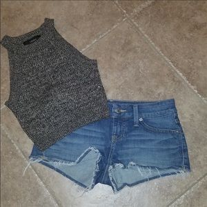 Guess shorts and Forever 21 Knit crop top